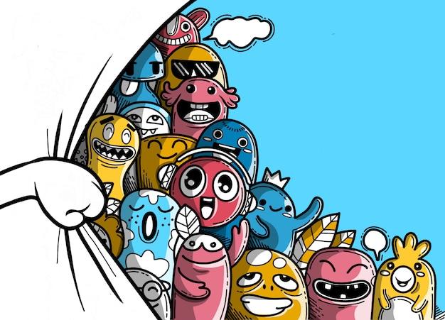 Tenda di apertura a mano, con divertente gruppo di mostri alle spalle, illustrazione di mostri e simpatica collezione di mostri disegnati a mano simpatici e simpatici alieni