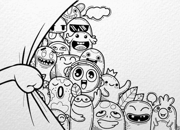 Tenda di apertura a mano con dietro un divertente gruppo di mostri