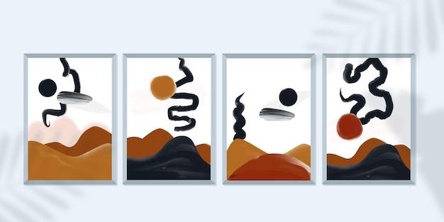 Set di copertine di arte astratta dipinte a mano