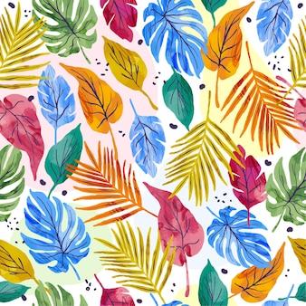 Modello di foglie astratte dipinte a mano
