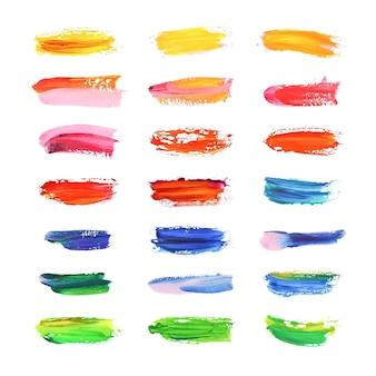 Collezione di pennellate acriliche dipinte a mano