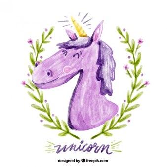 Dipinto a mano unicorno divertente con corona di alloro