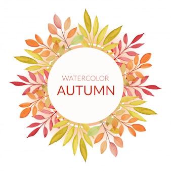 Bordo autunnale dipinto a mano con foglie ad acquerello