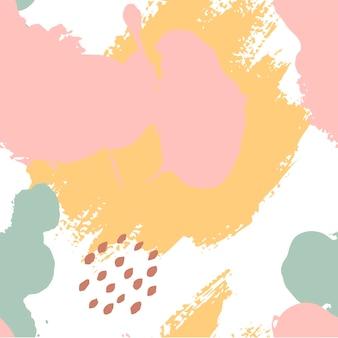 Pennellate dipinte a mano in rosa, senape, menta, marrone, bianco. modello astratto vettoriale senza soluzione di continuità, sfondo di pennellate e macchie di trama, punti per il design del tessuto, diversi design web