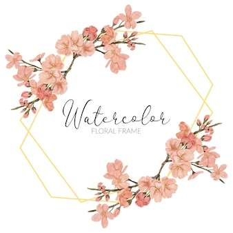 Bordo dorato rustico della molla dell'acquerello dell'illustrazione del fiore del fiore di ciliegia dipinto a mano