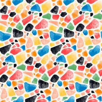 Motivo a terrazzo colorato dipinto a mano Vettore Premium