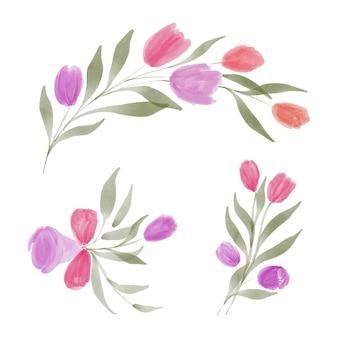 Collezione di bouquet floreali di tulipani colorati ad acquerello dipinto a mano