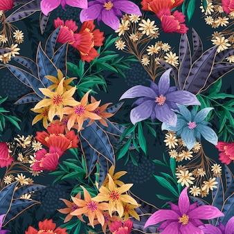 Motivo floreale esotico dipinto a mano
