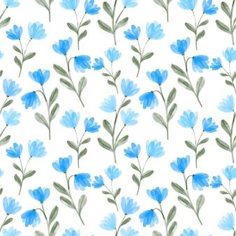 Ripetizione floreale dell'acquerello del prato blu floreale dipinto a mano