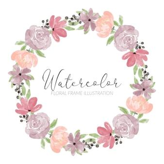 Bordo del cerchio bouquet pastello oggetto floreale dipinto a mano