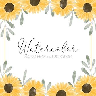 Quadrato del bordo dell'acquerello del fiore del sole floreale dipinto a mano
