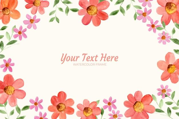 Dipinto a mano di acquerello floreale come cornice di sfondo