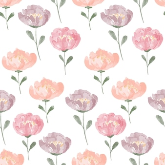 Motivo floreale ripetuto ad acquerello dipinto a mano con peonia in fiore