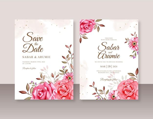 Acquerello floreale dipinto a mano per modello di invito a nozze