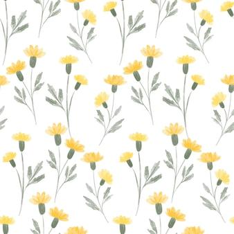 Ripetizione floreale dell'acquerello del prato giallo floreale dipinto a mano
