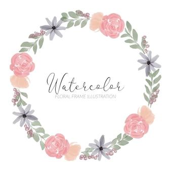 Bordo del cerchio di fiori dipinti a mano con stile acquerello rosa peonia