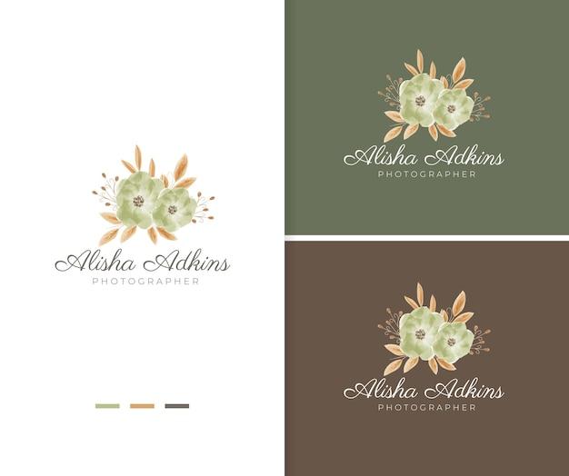Modello di logo del fiore dell'acquerello verde dipinto a mano
