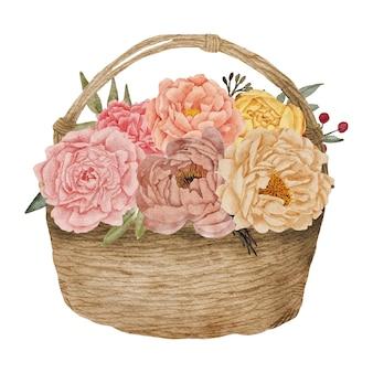 Cestino con bouquet floreale di peonie dipinte a mano in stile acquerello