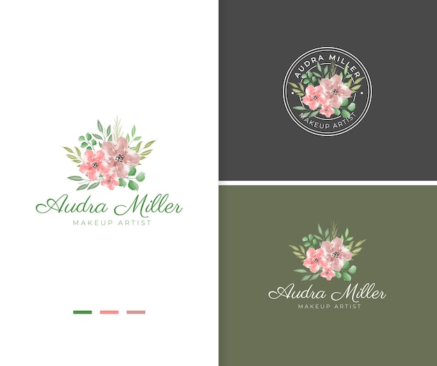 Modello di logo del fiore dell'acquerello rosa dipinto a mano