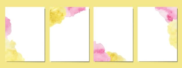 Dipinto a mano con copertine acquerello astratte rosa e gialle Vettore Premium