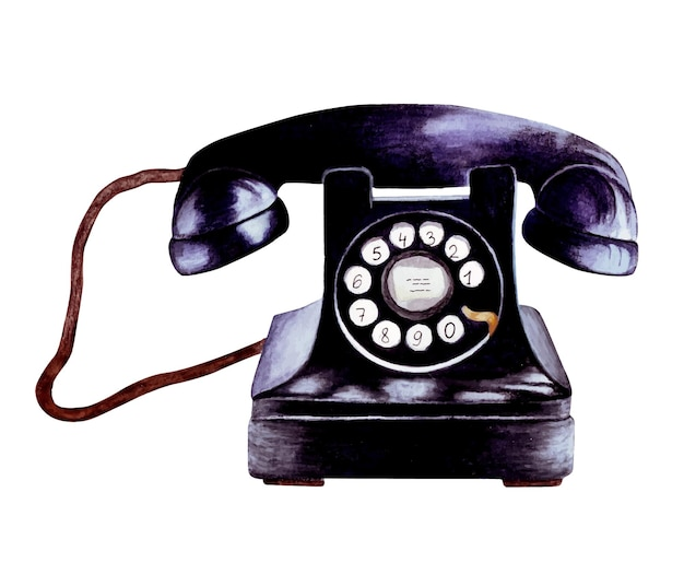 Illustrazione dell'acquerello del telefono nero retrò dipinta a mano