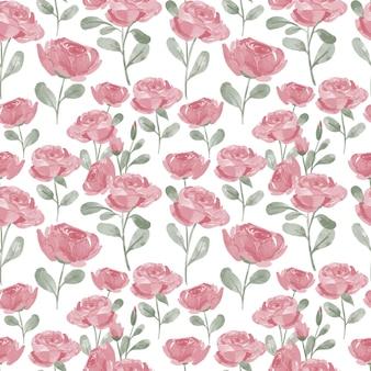 Motivo ripetuto dell'acquerello floreale rosa dipinto a mano con ramo
