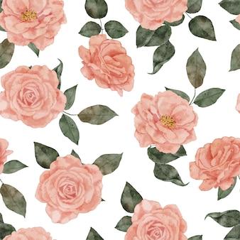 Modello di ripetizione dell'acquerello del mazzo di fiori di rosa dipinto a mano