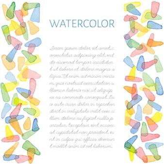 Macchie di pennello acquerello dipinto a mano con testo. modello decorativo carino. pannelli di bordo colorati luminosi. ottimo per l'invito dell'acquazzone di bambino, biglietto d'auguri, scrapbooking ecc. illustrazione vettoriale.