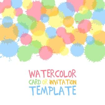 Cerchi di colore dell'acqua dipinti a mano con testo. modello decorativo carino. pannelli di bordo colorati luminosi. ottimo per l'invito dell'acquazzone di bambino, biglietto d'auguri, scrapbooking ecc. illustrazione vettoriale.