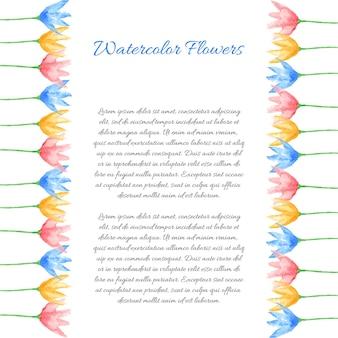 Pannelli floreali dipinti a mano ad acquarello con testo. modello floreale decorativo carino. pannelli di bordo colorati luminosi. ottimo per l'invito alla doccia del bambino, il biglietto d'auguri, lo scrapbooking ecc. illustrazione vettoriale