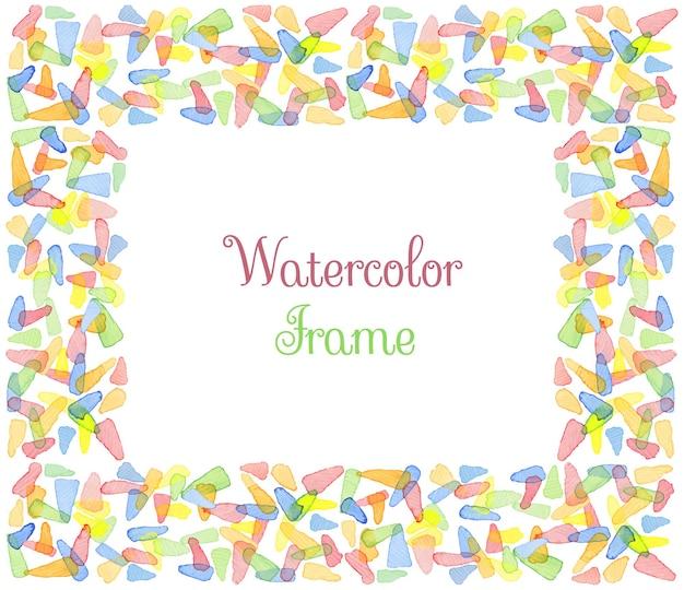 Cornice acquerello dipinta a mano con testo. modello decorativo carino. pannelli di bordo colorati luminosi. ottimo per l'invito dell'acquazzone di bambino, biglietto d'auguri, scrapbooking ecc. illustrazione vettoriale.