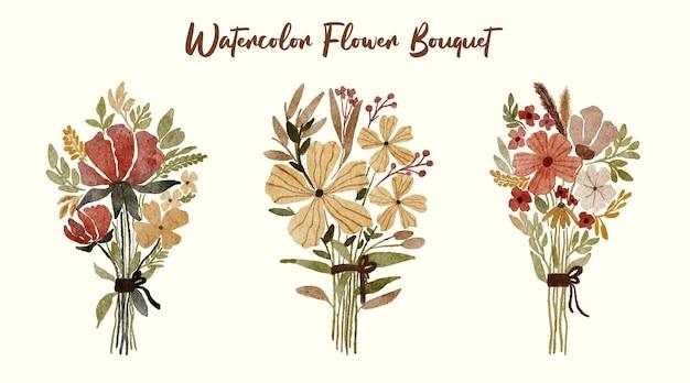 Mazzo dell'acquerello dipinto a mano collezioni di composizioni floreali primaverili per l'illustrazione della decorazione
