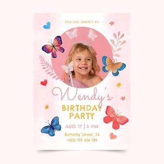 Modello dell'invito di compleanno della farfalla dell'acquerello dipinto a mano con la foto