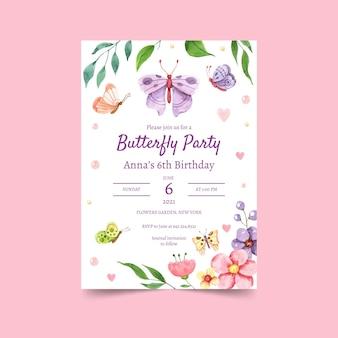 Modello dell'invito di compleanno della farfalla dell'acquerello dipinto a mano