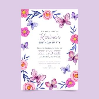 Invito di compleanno farfalla dell'acquerello dipinto a mano
