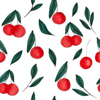Modello senza cuciture di ciliegie dell'acquerello dipinto a mano