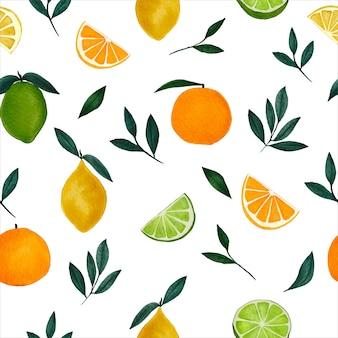 Carta da parati senza cuciture con agrumi ad acquerello dipinto a mano con ramo di un albero di limone con lime e arancia