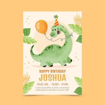 Modello dell'invito di compleanno del dinosauro dell'acquerello dipinto a mano