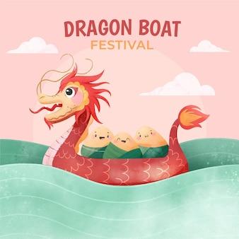 Illustrazione dipinta a mano della barca del drago dell'acquerello