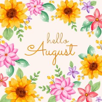 Iscrizione di agosto floreale ad acquerello dipinta a mano