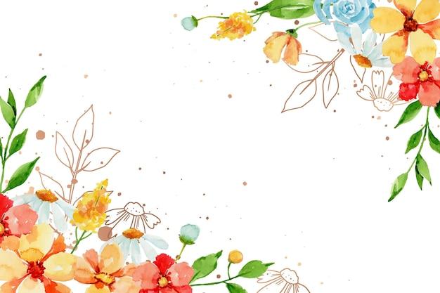 Sfondo floreale acquerello dipinto a mano