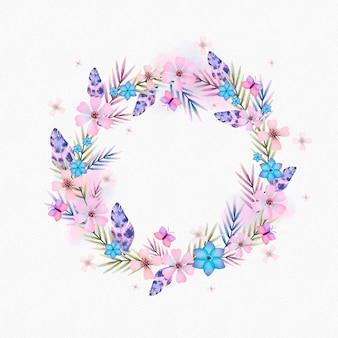 Cornice boho floreale ad acquerello dipinta a mano
