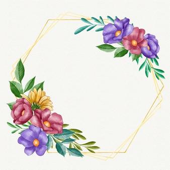 Modello di cornice floreale ad acquerello dipinto a mano