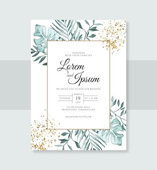Acquerello dipinto a mano floreale per un modello di invito a nozze minimalista