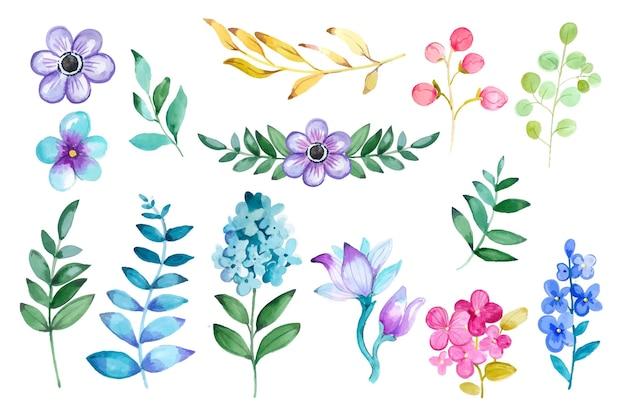 Set floreale ad acquerello dipinto a mano