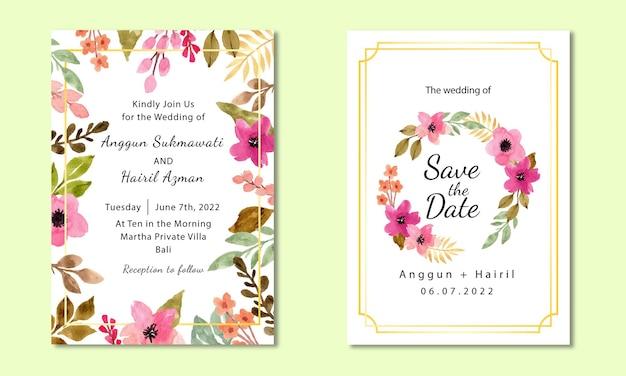 Modello per invito a nozze floreale ad acquerello dipinto a mano con decorazione in oro
