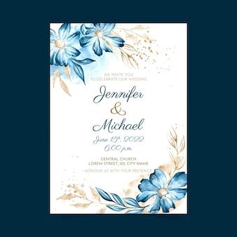 Modello di invito matrimonio floreale dell'acquerello dipinto a mano