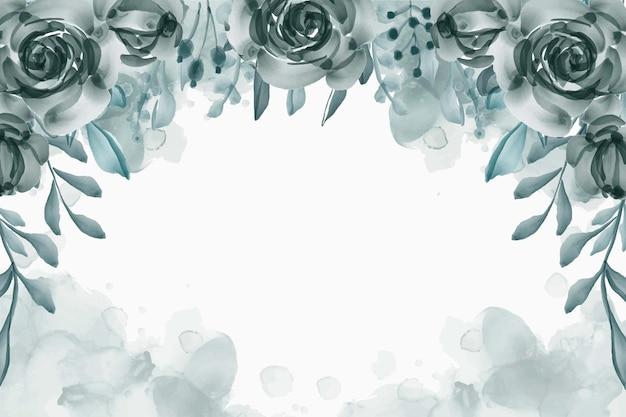 Fondo blu marino del fiore dell'acquerello dipinto a mano