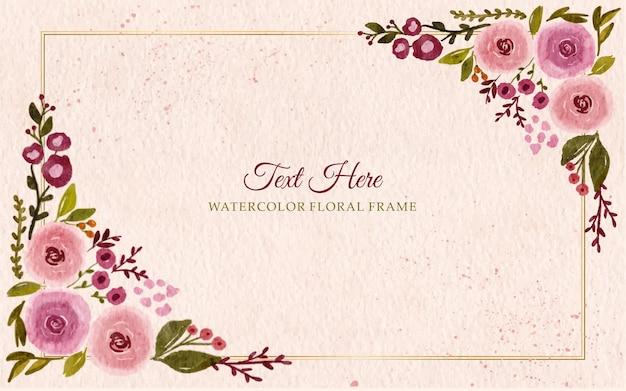 Fondo del bordo della cornice dei fiori dell'acquerello dipinto a mano