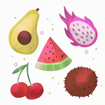 Set di frutta dell'acquerello dipinto a mano